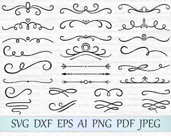 Divider svg file, Text dividers svg,  Flourish swirl svg, Divider cricut, Scrolls svg, Swirls svg, Divider silhouette, Divider cut file