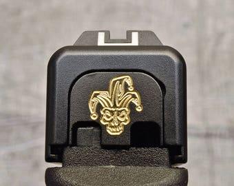Black Cerakoted Joker Brass Glock Slide Back Plate
