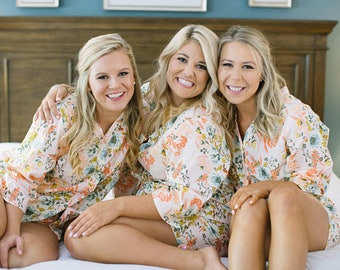 SET of 4 - 15% Discount Bridesmaid Pajama Sets. Bridesmaids PJ set.Bridesmaids Pajamas. Boxer Shorts. Pajama Set. Pink Posies Collection.