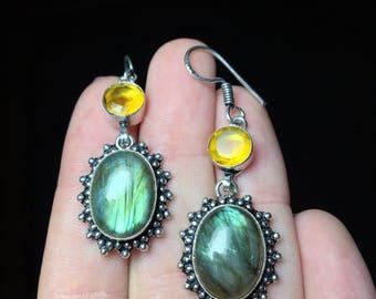 925 Stamped Rainbow Labradorite & Citrine Earrings