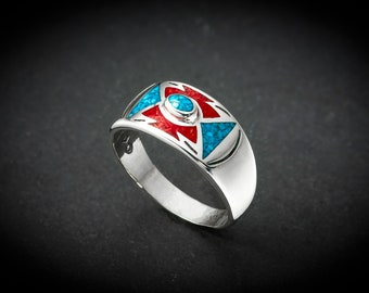 Sterling silver Turquoise and Coral inlaid ring Sizes available: 5.5 through 13