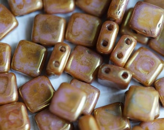 6mm CzechMates Tile Beads - Gold Luster - Topaz Rose - Picasso Czech Glass Beads - Two Hole Tile Beads - Bead Soup Beads