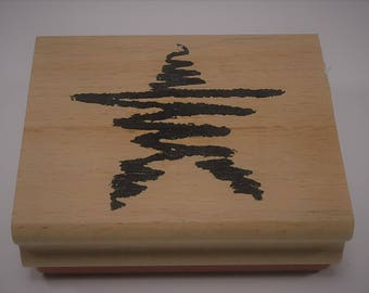 Scribble Star Wood Mounted Rubber Stamp By Greenbriar  Christmas, New Year's Eve, 4th Of July, Memorial Day, Labor Day, Military
