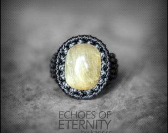 Golden Rutile Quartz Macrame Ring