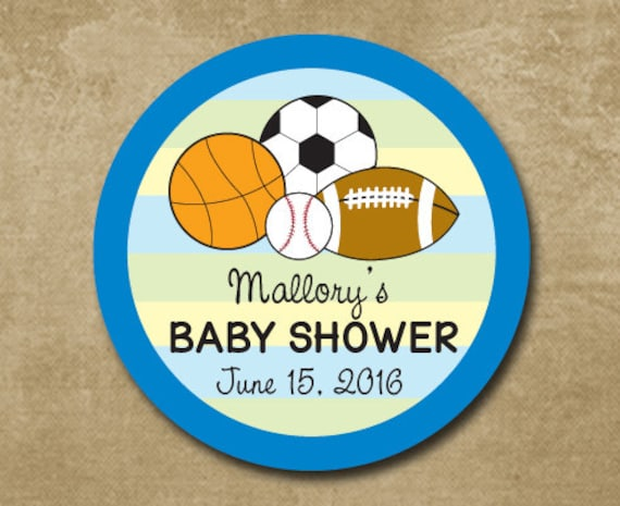 Sports theme baby shower favor stickers baby shower description adorable sports themed baby negle Image collections