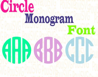 Circle Monogram Svg Font,SVG Font file,SVG cut files, letters,Silhouette cutting file,svg file Downloadable files, Round letters,Alphabet