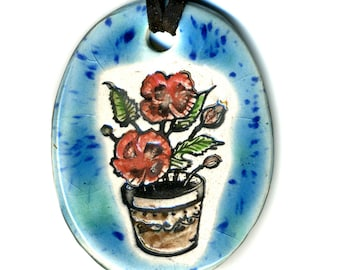 Poppy Ceramic Necklace in Blues