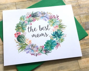 Pregnancy Announcement Card - Pregnancy Reveal to Mom Mother - New Grandma Rustic Baby Announcement - Having a Baby Card - SWEET SUCCULENTS