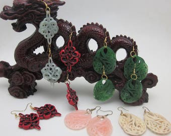 Mother's Day Gift Earrings Unique Chinoiserie   Pastel Green  Red and Black Dark Green   Pastel Pink    Pastel Ivory by VictorianaOriginals