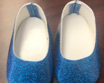 Girl Doll Shoes, Dark Blue Glitter Doll Shoes, 18 inch Doll Ballet Flats, American Doll Glitter Shoe, Girl Doll Shoes, Ready to ship