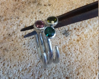 Tourmaline facetted open ring