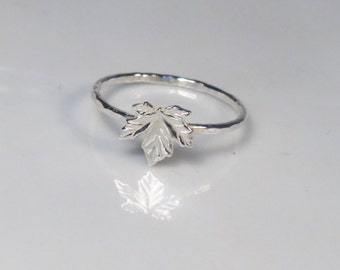 Silver maple leaf ring, Thin stacking ring, Maple ring, Canadian jewelry