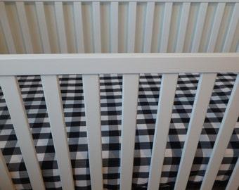 Black/White Buffalo Plaid Crib Sheet