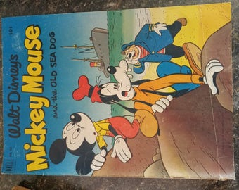 Vintage Dell 411 Walt Disney's Mickey Mouse Old Sea Dog Comic 1952