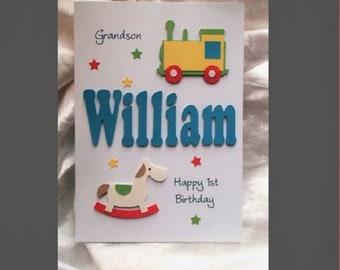 Personalised Handmade 1st 2nd 3rd etc.Birthday Card Son Grandson Nephew Godson etc.