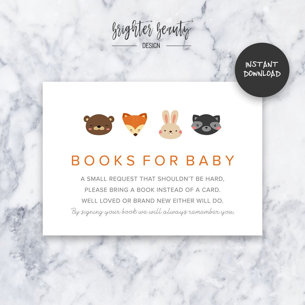 Orange woodland animal books for baby baby shower insert instant orange woodland animal books for baby baby shower insert instant download do it yourself printable solutioingenieria Choice Image