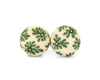 Vintage style fabric earrings - tiny button earrings - small stud earrings - round beige green earrings - girlfriend gift under 10 for her