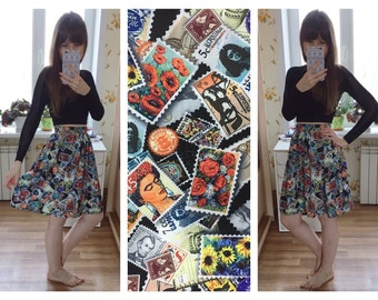 Stamps Print Skirt Knee Length Skirt (made to order)