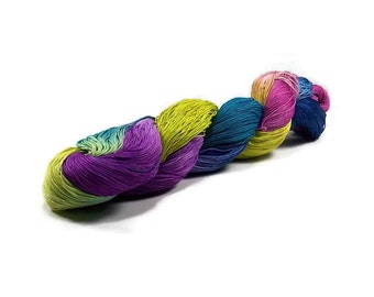 150 Yards Hand Dyed Cotton Crochet Thread Size 10 3 Ply Blue Purple Chartreuse Green Teal Fine Cotton Yarn