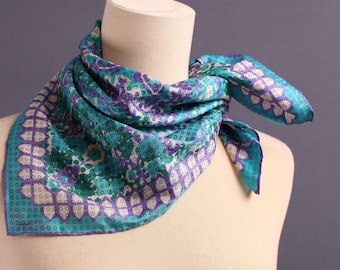 Vintage Vera Scarf 70s Silk Scarf Green Purple White Abstract Print Neck Scarf Vera Neumann Silk Scarf