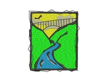 bridge and river embroidery design