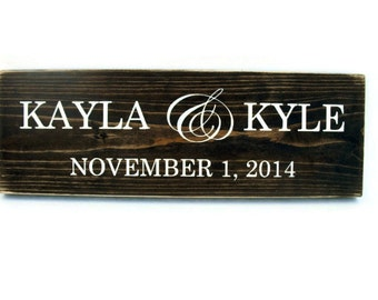 Wedding Sign Rustic Wood Personalized Plaque Gift Wall Decor - Names (#1262)