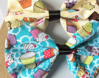 Cute hair bow, kitsch cupcake pattern fabric bow hair clip (yellow/blue) ~ clip in hair accessories (choice of 2)