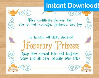 INSTANT DOWNLOAD! Jasmine/Aladdin Inspired Printable Princess Certificate - For Coronation Ceremony, Birthday Gift, Party Favors