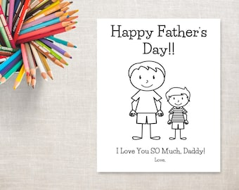 Father's Day Coloring Printable- Boy & Daddy- Father's Day Card from Son