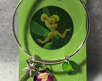 Little Girls Tinkerbell Theme Bangle Charm Bracelet Free Shipping