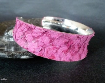 Fish leather cuff; pink tilapia leather. Gift for Mother's Day, birthday, best friend, bridesmaids. Adjustable bracelet bangle cuff