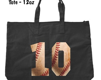 Baseball Numbers Tote Bag - Baseball Tote Bag - Baseball Present - Personalized Tote Bag - Custom Baseball Bag - Baseball Mom