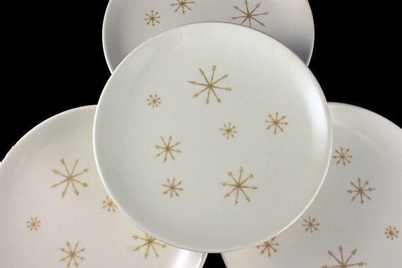 Bread and Butter Plates, Royal China (USA), Crystal Pattern, Gold Star Design,  White and Gold, Set of 4