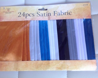 24 Piece Pack of Satin Fabric
