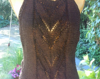 Knit top Brown, with an interesting back, Gr. 36-40 (S-m)