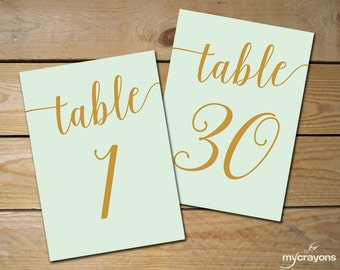 Instant Download Printable Table Numbers 1-30 // Mint Table Numbers, Mint and Gold Wedding Decor // 5x7, 4x6 Table Numbers Wedding