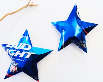 Large Bud Light Beer Stars, Set of 2, NFL Recycled Beer Can, Christmas Ornaments Aluminum Can Upcycled