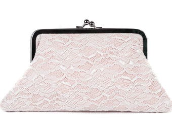 Big Sale -Blush frame purse clutch with ivory lace bridesmaid clutches bridal clutch bridesmaid gift,silver frame purse-COLOR OPTION