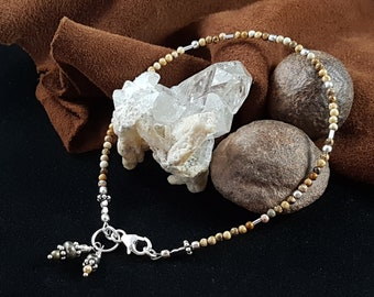 Bracelet Jasper, 925 Sterling Silver and PYRITE (genuine stone and natural color).