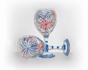 July Fourth Fireworks Hand Painted Wine Glasses Set of 2 - 21 oz.  New Years Eve Independence Day July 4th Red White and Blue Patriotic