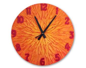 Orange clock, Tangerine Clock, Large WALL CLOCK, Unique clock, Modern wall clock, orange red home decor heavy texture