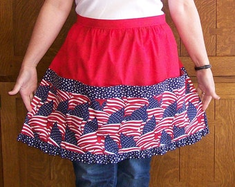 Patriotic Red White and Blue Ruffled Retro Half Apron One Size
