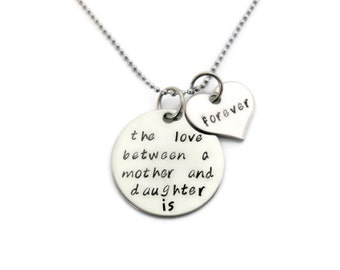 """Mother & Daughter Necklace """"The love between a mother and daughter is forever"""" hand stamped mother daughter necklace"""