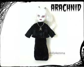 Living Dead Doll Clothes -  ARACHNID - Black Crushed Velvet Top Skirt & Spider Necklace - Handmade Custom Fashion by dolls4emma