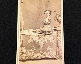Autographed CDV of Armless Sideshow Circus Performer, 19th Century Antique Photo Signed by Ann Leak