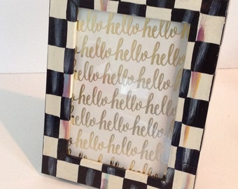 Hand Painted Wood Black / White CHECK Picture Frame !!