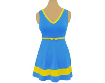 Light Blue + Bright Gold Skater Dress