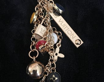 Designer inspired Gold with multi color key-ring or Bag charm