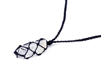 Raw Quartz Necklace, Clear Quartz Jewelry, Lemurian Quartz, Healing Crystal, Gemstone Necklace, Raw Minerals, Rough Stones