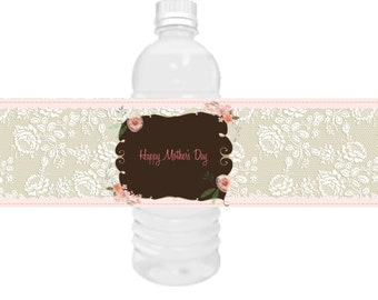 Mother's Day Water Bottle Labels, Mother's Day labels, Self adhesive water bottle labels, chalkboard water bottle labels.